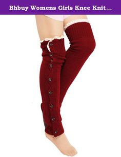 Bhbuy Womens Girls Knee Knit Lace Leg Warmers High Crochet Boot Cuffs Button Socks (Wine Red). Material-Acrylic Mix Wool, Comfortable and keep warm. Beauty design-High quality wooden Button design, lively and fashion. Stylish Knee High Boot Socks: Adorned with cute wooden buttons for that vintage touch! Fits very comfortable. Perfect Fit-Slouchy over leggings or inside boots. Wash Method- Machine wash or hand wash, easy to clear.