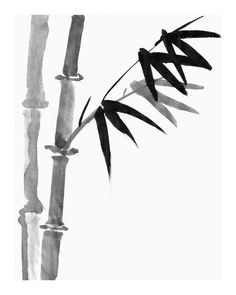 Sumi Bamboo Painting - Sumi-e ink Drawing - Japanese Print, Natural, Asian Wall Decor, Oriental Art, Brush Art, Rice Paper, Tranquility. via Etsy.