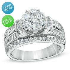 I've tagged a product on Zales: 1-1/4 CT. T.W. Diamond Cluster Multi-Row Engagement Ring in 10K White Gold