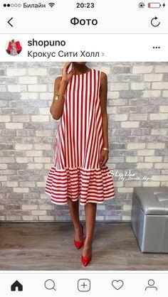 Commuting High-Waist Pleated Halflong Sleeve Casual Dress Crew Neck Red Women Summer Dress A-line Daily Basic Paneled Dress Simple Dresses, Cute Dresses, Short Dresses, Summer Dresses For Women, Summer Outfits, Mode Inspiration, Mode Style, Striped Dress, Ruffle Dress