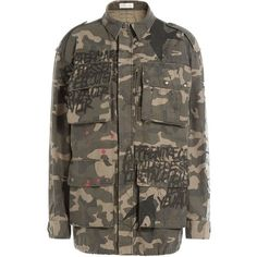 Faith Connexion Cotton Tag Multi Pocket Jacket found on Polyvore featuring outerwear, jackets, green, multicolor, camoflauge jacket, boyfriend jacket, green camo jacket, camouflage jacket and brown jacket