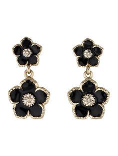 Kate Spade New York Black Enamel Flower Drop Earrings