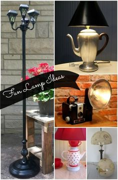 Fun Repurposed Lamp ideas from reclaimed objects.  #spon ohhh, I love that camera lamp--I still have my mom's brownie camera!