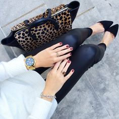 """southern-curls-and-pearls: Clare V. leopard handbag // Dee Keller shoes // white sweater // leather leggings // Michael Kors watch // David Yurman ring, bracelet // Essie nail polish in """"berry naughty"""" Leopard Handbag, Leopard Bag, Fall Winter Outfits, Autumn Winter Fashion, Winter Style, Winter Clothes, Fall Fashion, Southern Curls And Pearls, Dinner Outfits"""