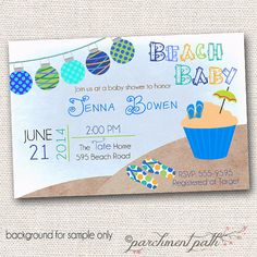 Beach baby shower invitation baby shower invitation digital beach baby shower invitation summer baby shower by parchmentpath 1200 filmwisefo Image collections