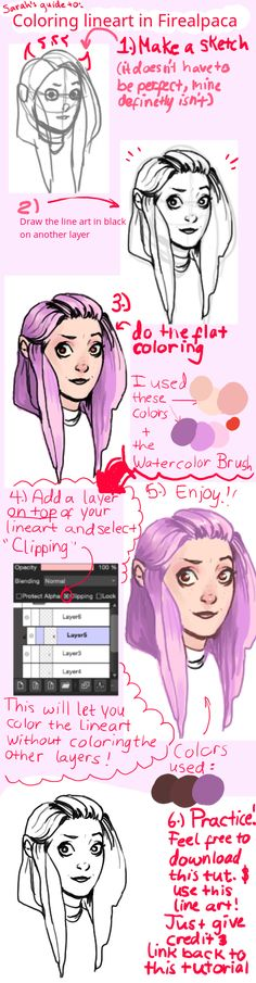 Firealpaca lineart coloring tutorial + base by sarahpenny10