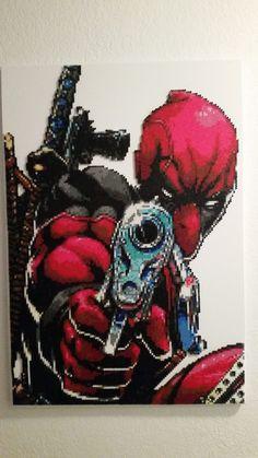 Deadpool (2x3 feet) perler beads by Etherkavu PERLER BEADS MAN!!! PERLER BEADS!