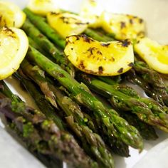 Garlic Asparagus and Preserved Lemons Farm fresh green and purple asparagus, roasted with grilled preserved lemons