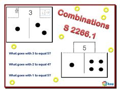 """""""Combinations"""" - Tell what number goes with a given number to make combinations up to 5. Supports learning Common Core Standards: 0-K.OA.5, 0-K.OA.3 [KNP Task # S 2266.1]"""