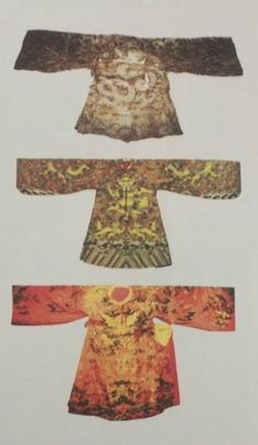 From top to bottom: Imperial mantle of the Le Trung Hung dynasty, imperial mantle of the Nguyen Dynasty and the costume of Lord Nguyen.