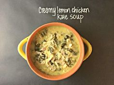 Lemon chicken kale soup