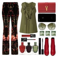 """Velvet pants"" by juliehalloran ❤ liked on Polyvore featuring Miss Selfridge, Roberto Cavalli, Yves Saint Laurent, Tom Ford, Polaroid, Gucci and NARS Cosmetics"