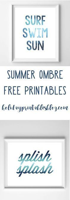 Summer Art | Free Printable Art | Wall Art Ideas | Blue Ombre | Coastal Decor | Beach House | Free Printables