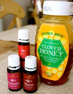 Honey, Young Living R.C., Thieves and Purification. Combat those illnesses! I like to use Thieves in my tea with a tsp. of honey to ease sore throats, R.C. to ease chest congestion and Purification to diffuse and purify the air.  For more information: www.youngliving.com/mamalemperes