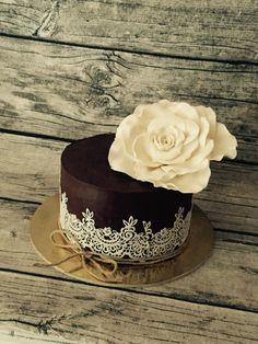 Big rose ganache cake