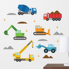 Construction Wall Decal, Bulldozer Wall Decal, Construction Decal, Dump Truck Decal, Digger Wall Decal, Construction Vehicles, Boys Decal by MaxwillStudio on Etsy https://www.etsy.com/listing/290765531/construction-wall-decal-bulldozer-wall