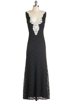 Radiant Reader Dress. Celebrate the release of your latest chapbook by wearing this black, lace maxi dress for your reading! #gold #prom #modcloth