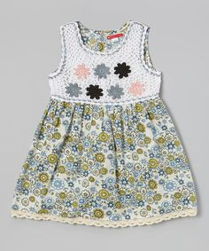 Look at this Green Floral Crocheted Dress - Toddler