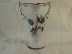 Vintage Hand Painted Ceramic Small Floral Vase Made by CraftBinge, $5.99