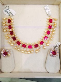 Ruby South Sea Pearls Necklace Set