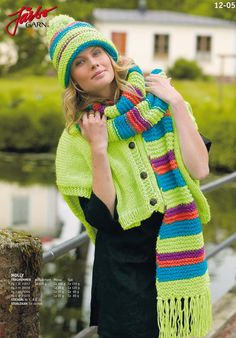 Gorgeous knitted hat with matching scarf and shoulder warmer.