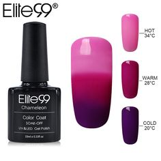 Elite99 Mood Changing Color Gel Nail Polish 32 UV Color Thermal Temperature Color Change Gel Varnish Nail Polish 10ML/PC #Affiliate