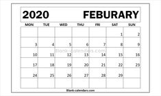 February 2020 Calendar Letter Writing Prompts 66 Best 2020 Calendar images | Blank calendar, Free blank calendar
