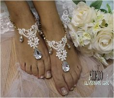 barefoot sandals, beach wedding, foot jewelry, barefoot beach, barefoot sandle, barefoot sandals, ROMANCE gold rhineston ivory lace | BF29