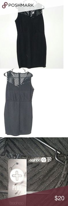 e11be452a33ea Boohoo Dress Jasmine sheer panel bodycon dress black size 18 new with tag  Smoke free home