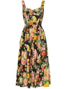 Shop online black Dolce & Gabbana full skirt floral midi dress as well as new season, new arrivals daily. Vestido Dolce Gabbana, Dolce & Gabbana, Floral Midi Dress, Black Midi Dress, Robes Midi, Look Fashion, Fashion Design, Poplin Dress, Full Skirts