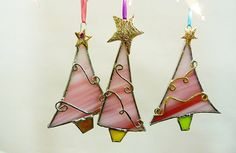 Whimsical Peppermint Candy Cane Stained Glass Christmas Trees