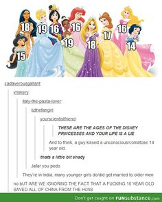 Disney Princess Ages ..ignore the language but this was just too hilarious to not repin