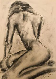 "Medium, Original, Impressionist, Drawing, Charcoal on Paper, ""Turn"""