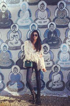 Shay Mitchell wearing  Lovers   Drifters  Shaggy Fur Jacket, Céline Red Metal Bridge Square Sunglasses