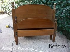 How to turn an old head and foot board into a cute bench!  I'd prefer to keep to more rustic look than what they have as a finished product but do it any way you like! = )
