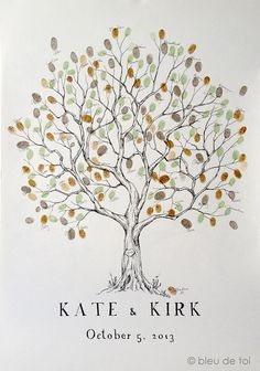 Fingerprint Tree Wedding Guest Book Alternative, Original Hand-drawn Large Olive Design (ink pads sold separately)