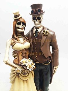 Day of the Dead Skeleton Steampunk Wedding Love Couple Statue Figurine Decor