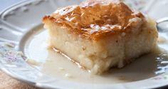 """This is Aki's version of one of the all-time favorite traditional Greek desserts called """"Galaktoboureko""""! A creamy custard made from semolina, wrapped in sheets of phyllo and so. Cantaloupe Recipes, Radish Recipes, Protein Smoothie Recipes, Yogurt Smoothies, Frangipane Recipes, Spagetti Recipe, Szechuan Recipes"""