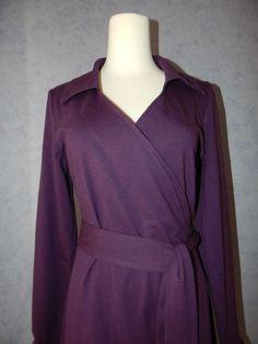 LANDS END purple v-neck tie waist stretch jersey long sleeve WRAP DRESS 8 M #LandsEnd #WrapDress #WeartoWork