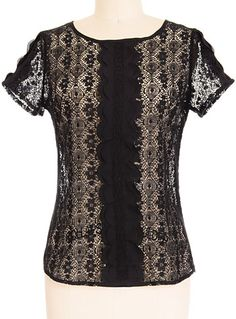Dainty Darkling Lace Top by Itro Clothing, Clothing, Black