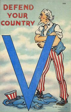 1941 WWII Defend Your Country V, Uncle Sam Rolling Up Sleeves Postcard in Topics (Themes) > Militaria > Patriotic Patriotic Posters, Patriotic Images, Patriotic Crafts, Patriotic Decorations, Memorial Day Flag, Letter V, God Bless America, Vintage Postcards, Vintage Ephemera
