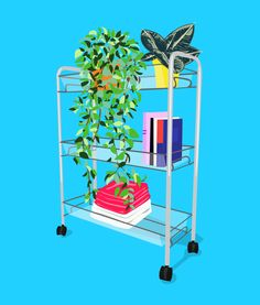 "Take the next step, and invest in a rolling cart that looks just like normal shelving but can be easily moved out of the way when you need extra room for entertaining. ""You can disguise it and add some life to your space by lining the top-most rung with decorative plants, potted hanging vines, and terrariums,"" says Phillip. Stock the second tier, which may be partially oscured by hanging leaves, with not-so-pretty manuals and iPhone speakers, and designate the rest for books and framed photos"