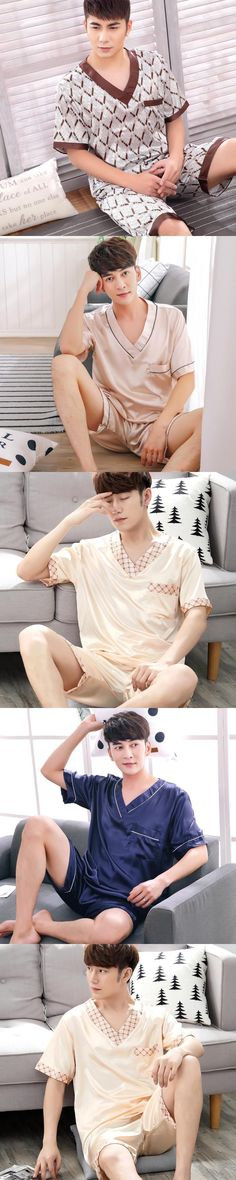Summer New Fashion Men's Pajamas Sexy Sleepwear Male Short-Sleeve Shorts Pajamas Men Homewear Sets #Homewear
