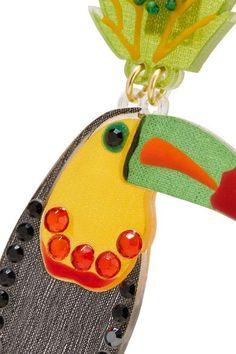 Mercedes Salazar - Bird Tasseled Gold-plated, Resin And Crystal Clip Earrings - Black