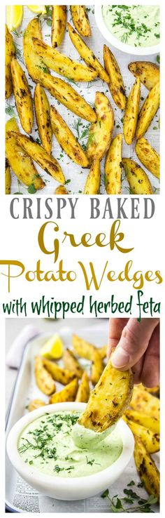 These Greek flavored potato wedges are crispy on the outside, soft and pillowy on the inside and served with a smooth, creamy dip loaded with funky feta and fresh herbs. This dynamic duo of potato wedges and dipare perfect as an appetizer, snack or side! Hi friends! Today we feast on potatoes! Pohhh-taayy-tooeess! And cheese! …