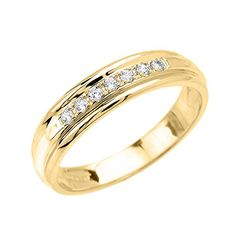 Mens 14k Yellow Gold Diamond Wedding Band Size 9 -- Visit the image link more details.