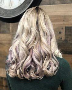 Purple Peekaboo Highlights, Purple Highlights Blonde Hair, Peekaboo Hair Colors, Lavender Highlights, Ash Blonde Hair, Peak A Boo Highlights, Coloured Highlights, Chunky Highlights, Caramel Highlights