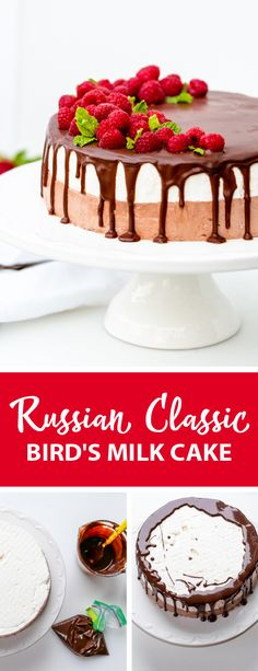Bird's Milk Cake a delicious and refreshing dessert, the perfect cake for summer. A great cake for any event or summer birthday. Russian Cakes, Russian Desserts, Russian Recipes, Chocolate Custard, Chocolate Ganache, Chocolate Recipes, Birds Milk Cake Recipe, Cake Recipes, Dessert Recipes