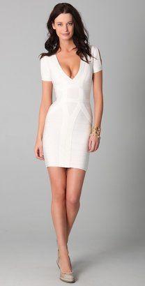 e0937969065 ShopStyle  Herve Leger Short Sleeve V Neck Dress