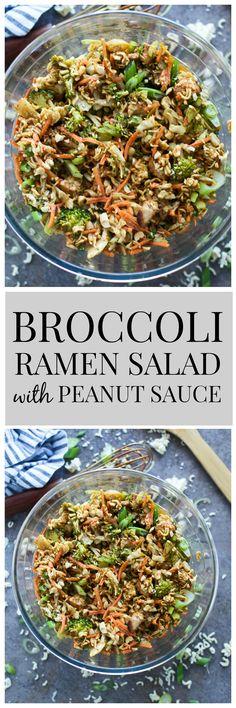 Broccoli Ramen Salad with Peanut Sauce - An updated take on a classic Asian ramen salad!